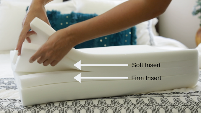 With the Perfect Fit Pillow, you can customize the pillow to fit all body types, including broad shoulders or narrow frames.