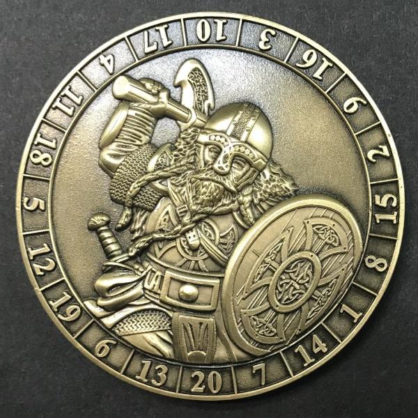 d20 Dwarf - antique gold plated