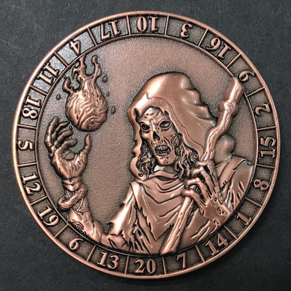 d20 Lich - antique copper plated