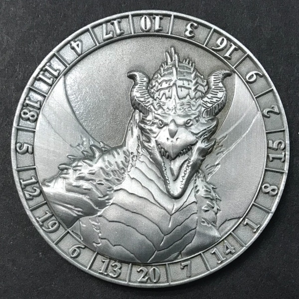 d20 Silver Dragon- antique silver plated