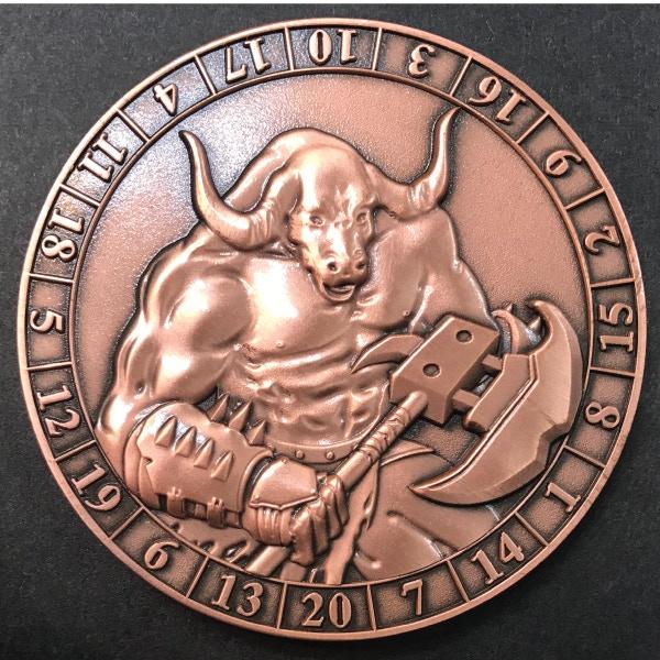d20 Minotaur - antique copper plated