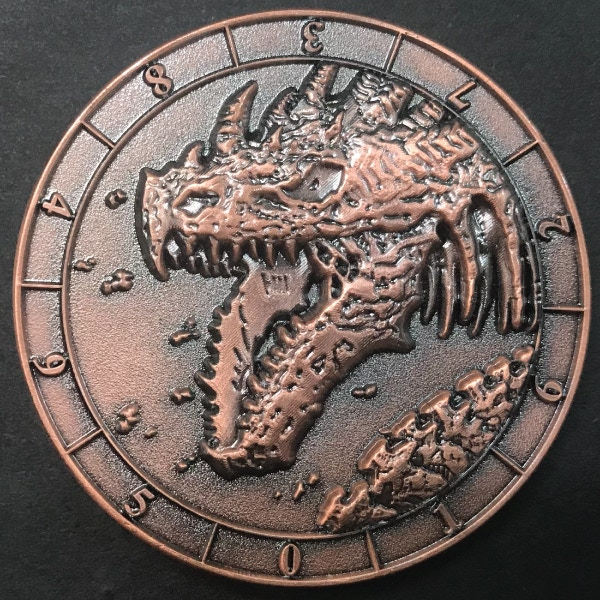 d10 one digit Skeleton Dragon - antique copper plated