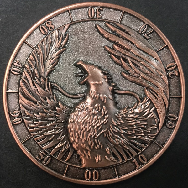 d10 ten digit Phoenix - antique copper plated