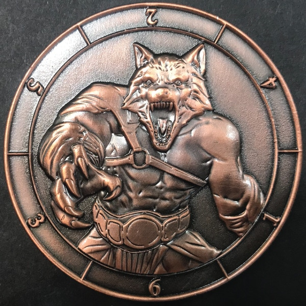 d6 Werewolf - antique copper plated