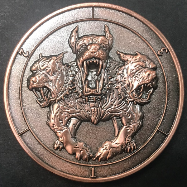 d3 Cerberus - antique copper plated