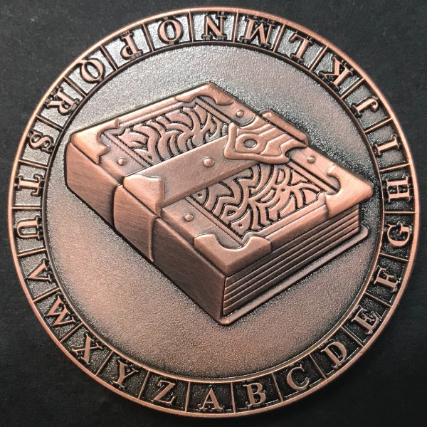 Alphabet coin - antique copper plated