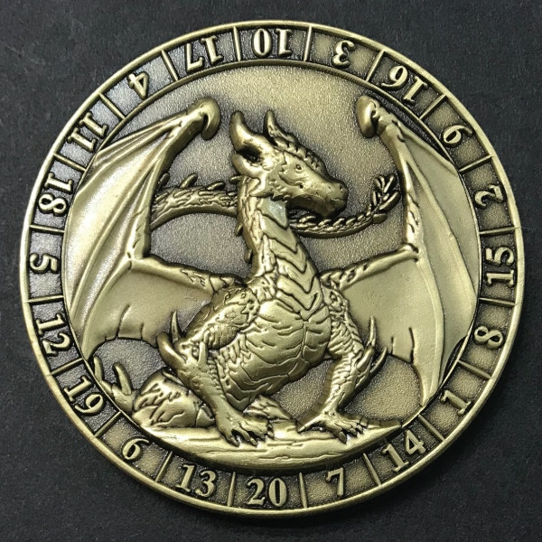 d20 Gold Dragon - antique gold plated