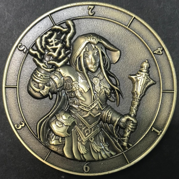 d6 Cleric - antique gold plated