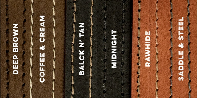 Three leather colors, each with two stitching options. Get the perfect match for your style.