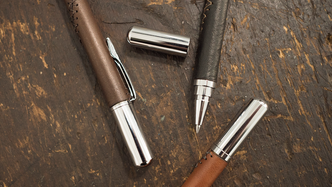 The chrome-plated hardware for the Long Haul rollerball features a sleek minimalist design and a cap that posts to the front or back with a satisfying click.