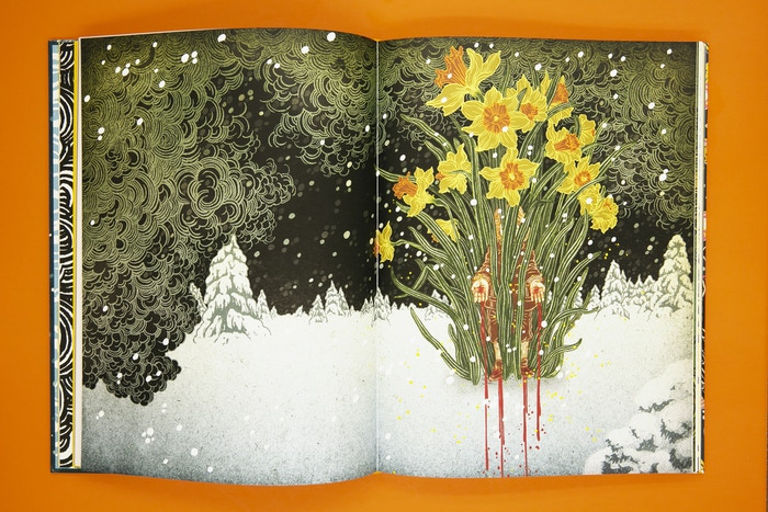 """Yuko Shimizu's illustration of Oscar Wilde's """"The Happy Prince,"""" published by Beehive Books. Photo by Lauren Renner."""
