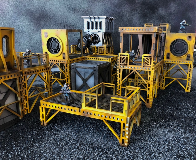 The Oculus Terrain range is endlessly modular and can be built multiple different ways til you find the version that works best for your game. (all miniatures pictured are included for scale only)