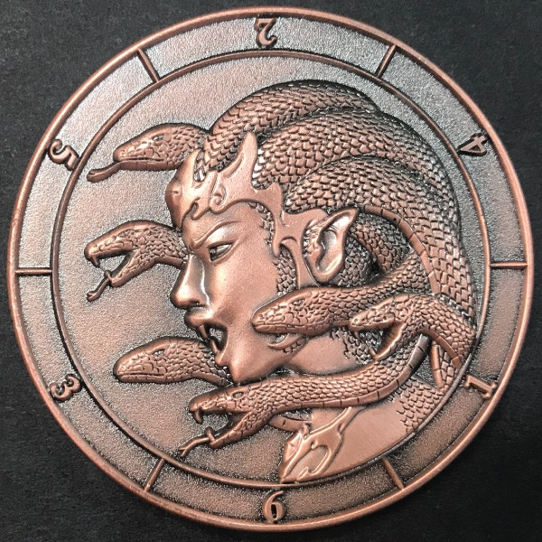 d6 Medusa - antique copper plated