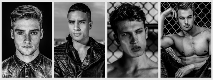 Samples of my portraits: Model Chris - Dancer Kupono Aweau - Model Marinus - Fitness model Marc Fitt