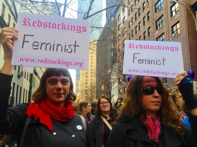 Redstockings marches January 21, 2017, New York City.