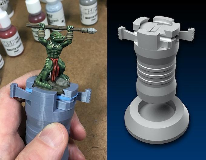 """BONUS ITEM: 1"""" base miniature painting holder."""