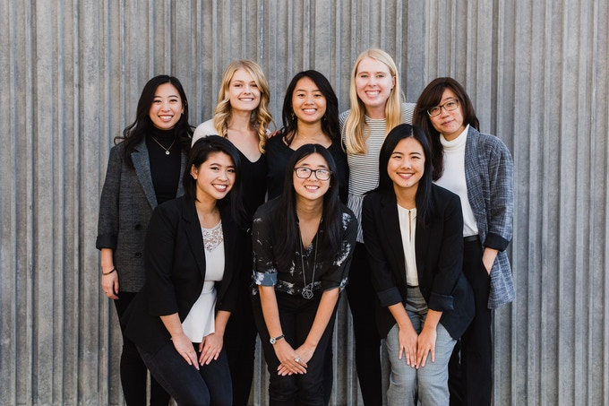 Our 2018-2019 Board. From back left to right: Timothea Wang, Emma Chisholm, Alana Joldersma, Shannon Hillyard, Dana Chan. Front from left to right: Alice Kuang, Cynthia Pu, Emily Luong