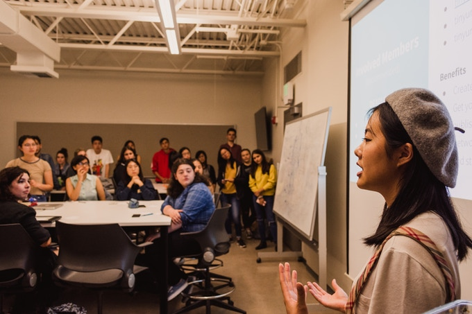 Co-Founder and Writing Team Lead, Emily Luong, leading general meeting. Photo by Shannon Hillyard