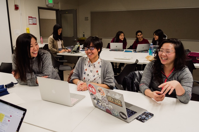 Co-Founder and Graphics Lead, Timothea Wang, leading part of her graphics team. Photo by Shannon Hillyard