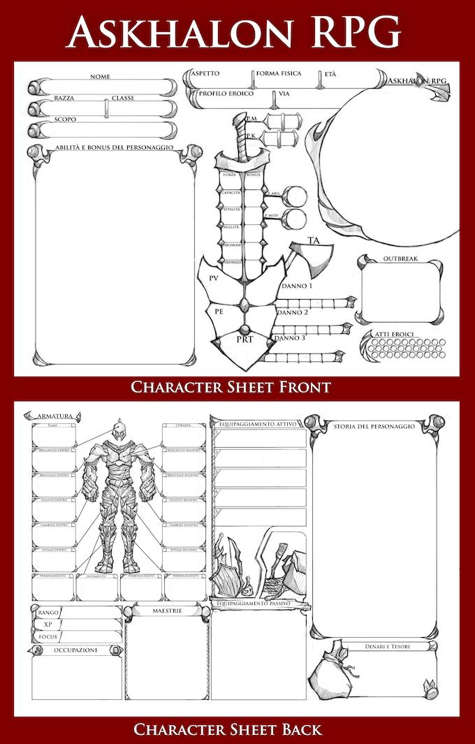 Character sheet.