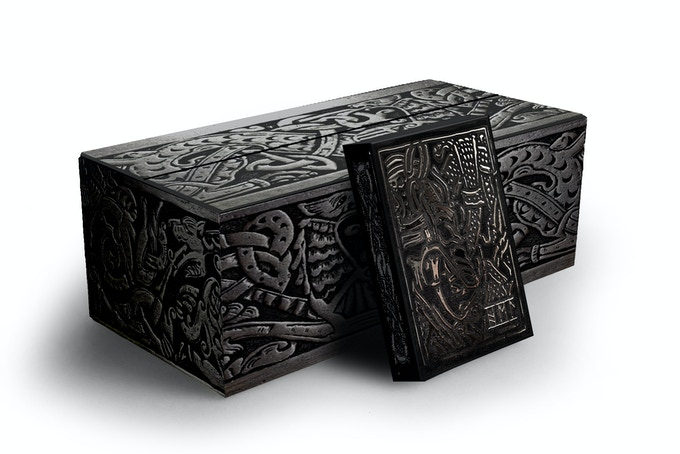 CMYK printed brick boxes with simulated silver carvings.
