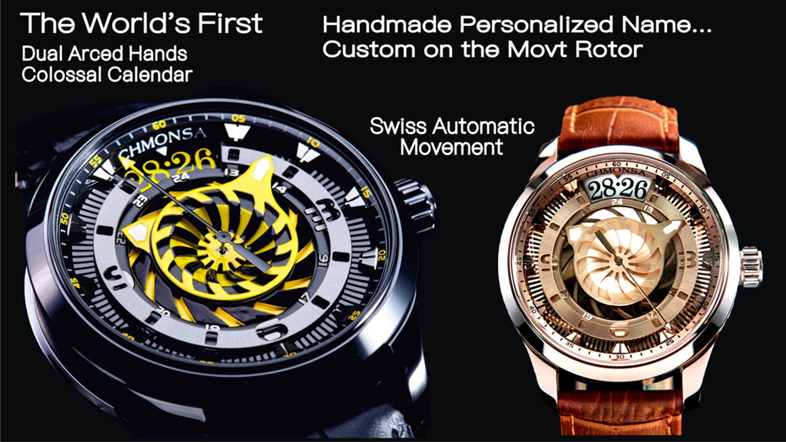 The World's First automatic watch with Unprecedented Dual-Arced Hands and Colossal Calendar Display
