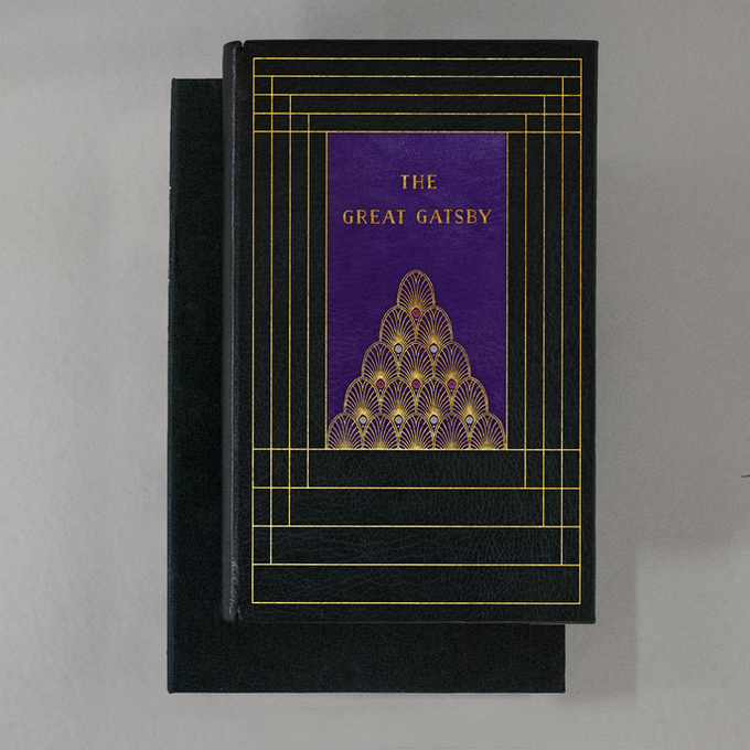 DAISY BUCHANAN will be bound in black Morocco, with purple leather laid into the front, and green leather laid into the back.  The cover is hand tooled with 22 karat gold in a deco design, and set with six opals and four rubies.  Presented in a clamshell box.