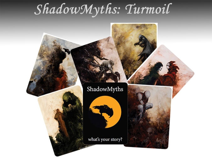 A selection of the cards in the ShadowMyths: Turmoil deck