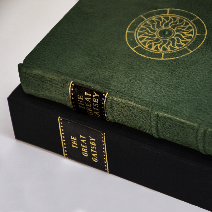 The Full-Leather copies are bound in green Morocco, gold stamped, and set with an emerald. They are presented in a clamshell box.