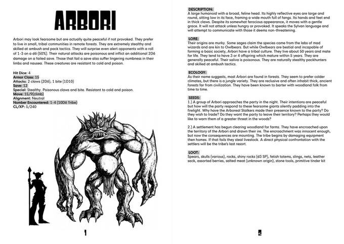 The first monster entry, the Arbori.