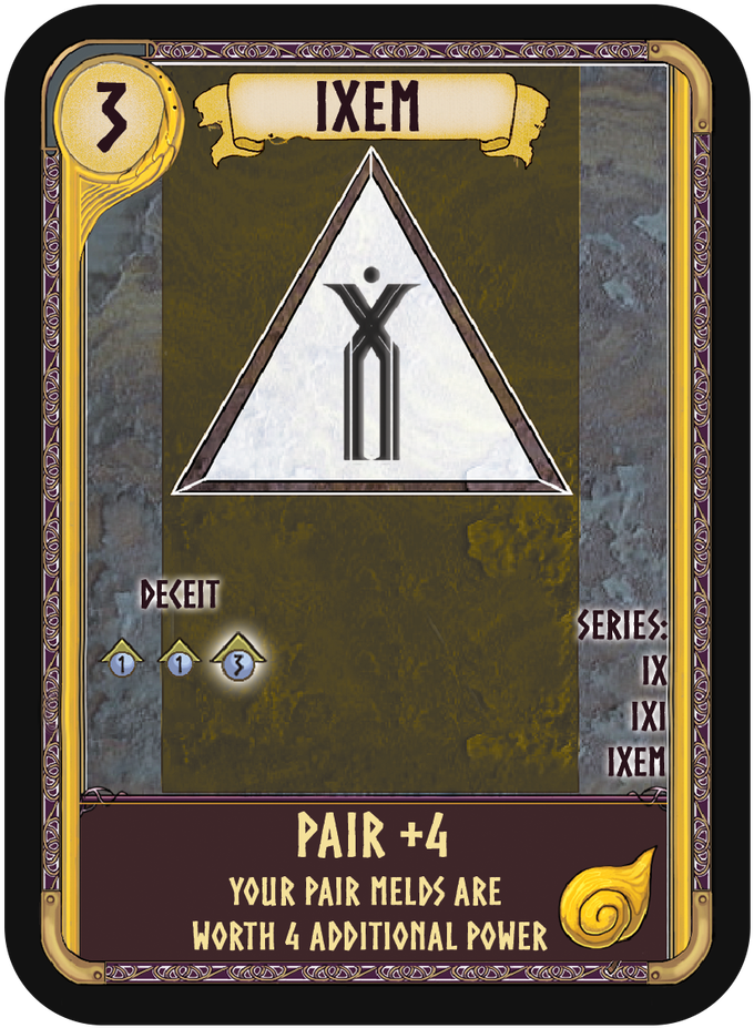Each rune series provides a bonus to a certain type of melds, scaling in power with Tier. Ixem is an Air Tier 3 rune, and provides a huge +4 power bonus to pairs!