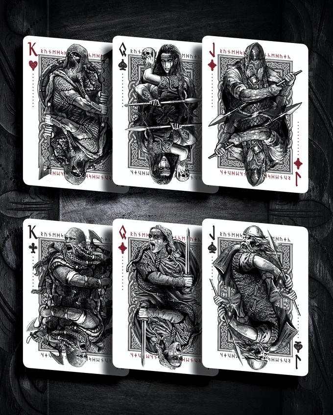 Hel´s chosen warriors (some face cards have subtle variations in the two editions).
