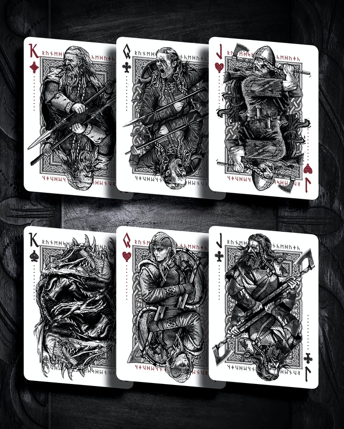 Nidhug´s chosen warriors (some face cards have subtle variations in the two editions).