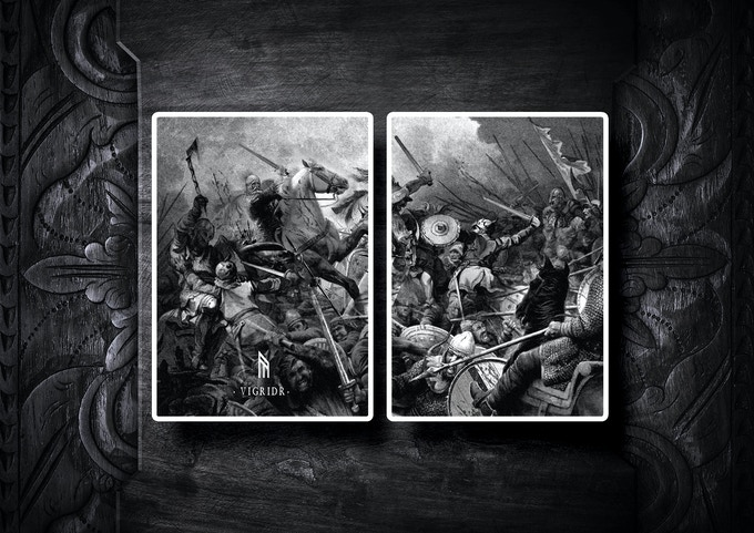 The Herja edition diptych jokers featuring the massive battle at the fields of Vigridr.