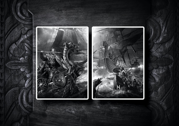 The Nidhug edition diptych jokers featuring Naglfar (Nail Farer) at a great naval battle.