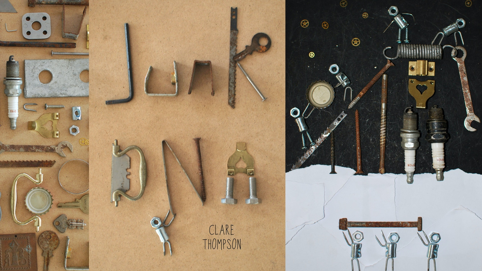 JUNK D.N.A. is a one-shot wordless comic/ picture book with illustrations created entirely from nuts, bolts and scrap metal parts!