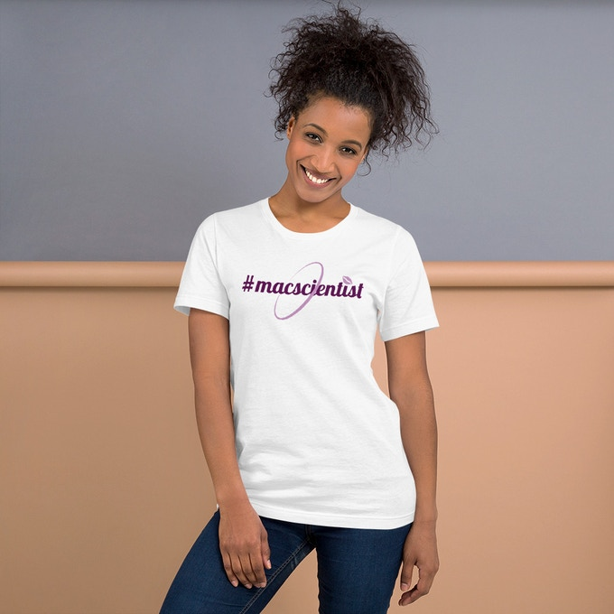 Official MacScientists logo T-Shirt available in white, grey, and ash