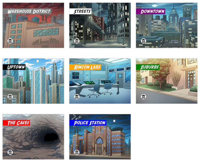 The Base City Locations!  More are unlocked as you play!