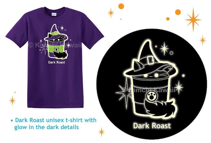 Dark Roast t-shirt with glow in the dark details