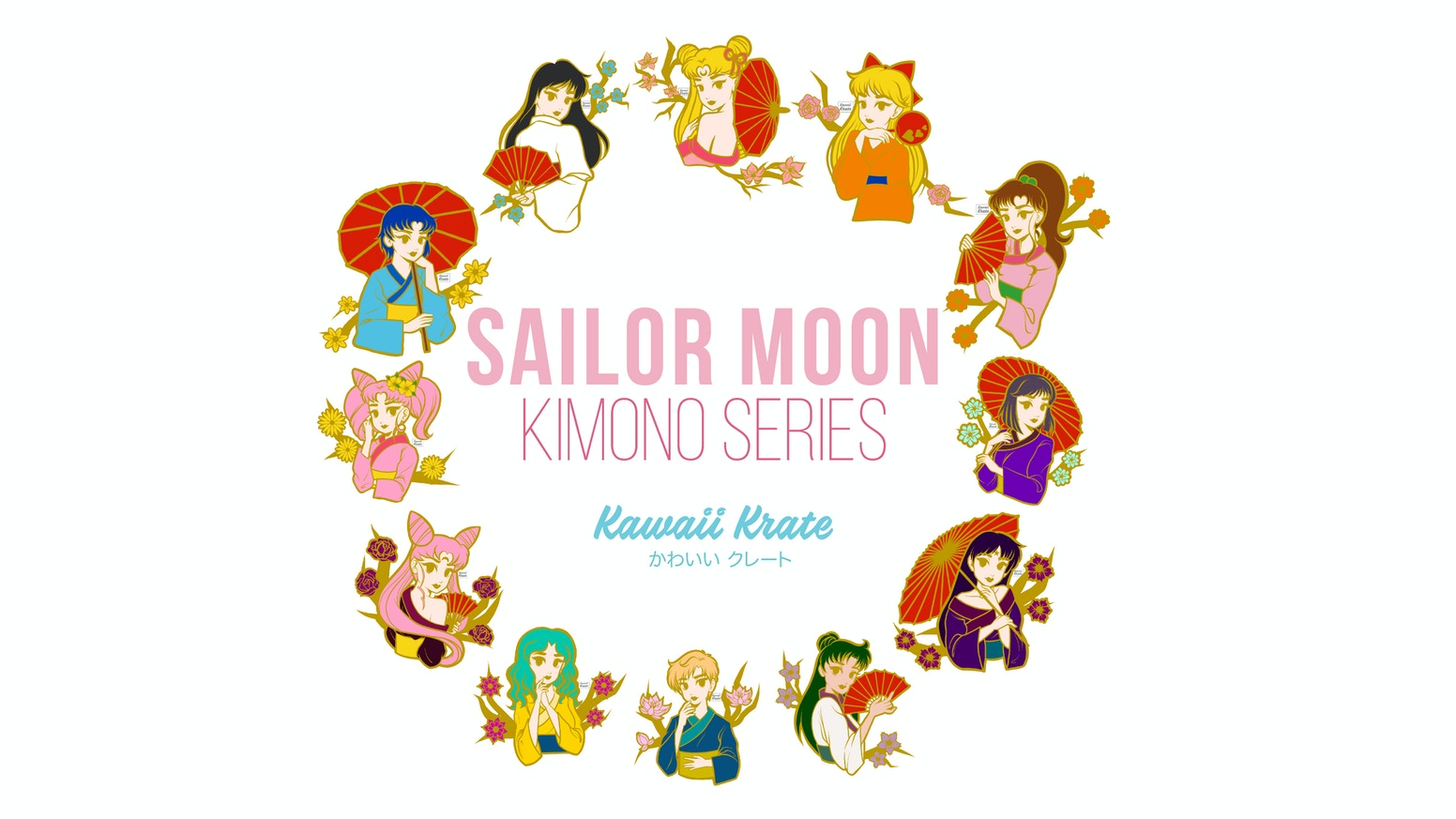 Kawaii Krate's Kimono Series Pin Designs of Sailor Moon Characters