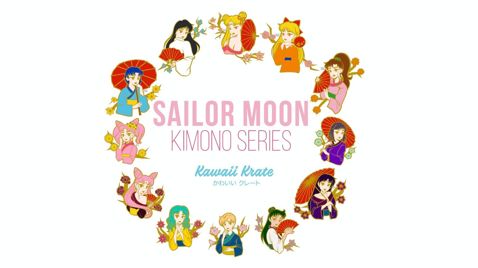 Kawaii Krate's Kimono Series Pin Designs of Sailor Moon Characters