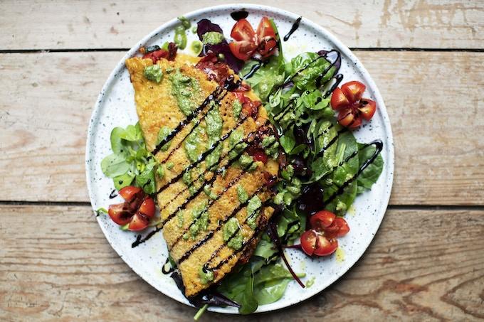 Mediterranean Vegan Omelette & Spinach Pesto