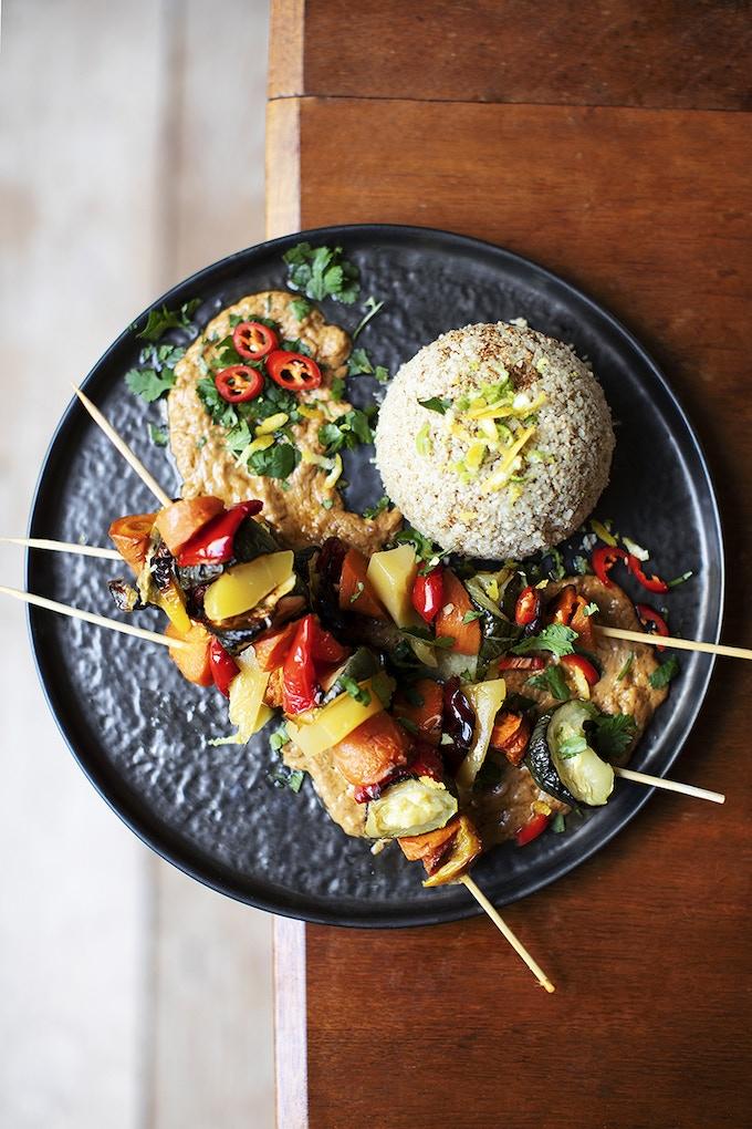 Mango Skewers, Cauliflower Rice and Spicy Satay
