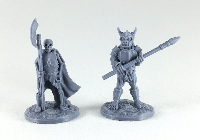 Miniatures printed on a $220 Creality 'Ender 3' 3D printer.