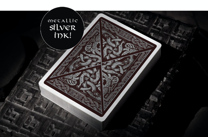 Herja edition card backs will be printed with a dark red and metallic ink with silver pigment.