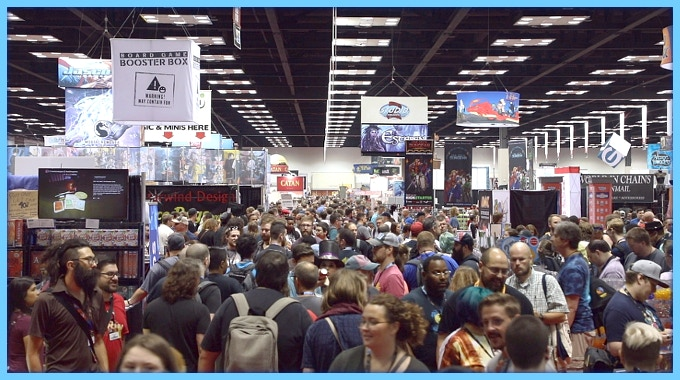A shot of Gen Con showing one of its busy halls.