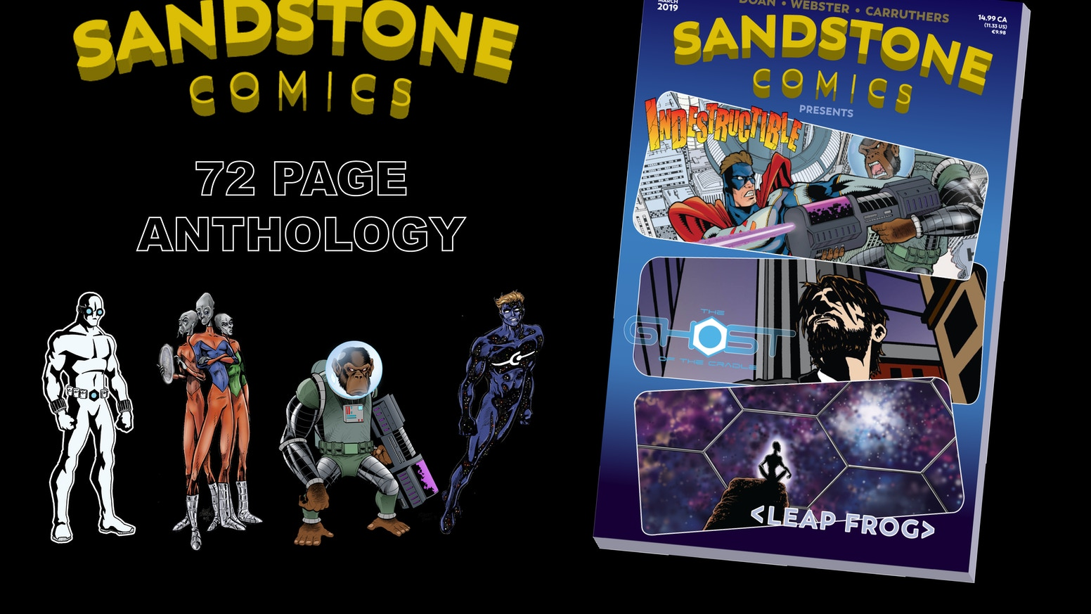Sandstone Comics Presents is a 72 page anthology consisting of 3 original full length stories.