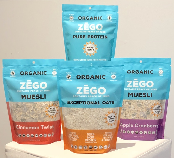 ZEGO's new purity protocol oats, muesli and protein powder. All are purity tested for glyphosate, metals, 400+ chemicals, allergens and gluten.