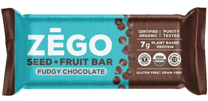 ZEGO's Organic Seed+Fruit Bars have 7 grams of seed protein, 4 grams of fiber and are low glycemic.