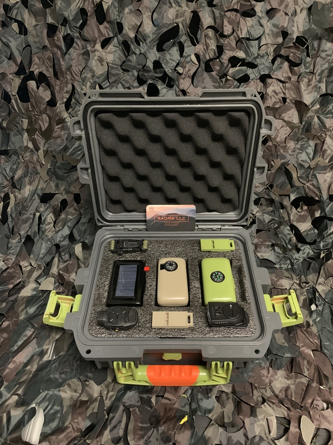 RADNA Device with RADNA Gear Boxes for hiking and hunting, also optional RADNA gear and travel case.